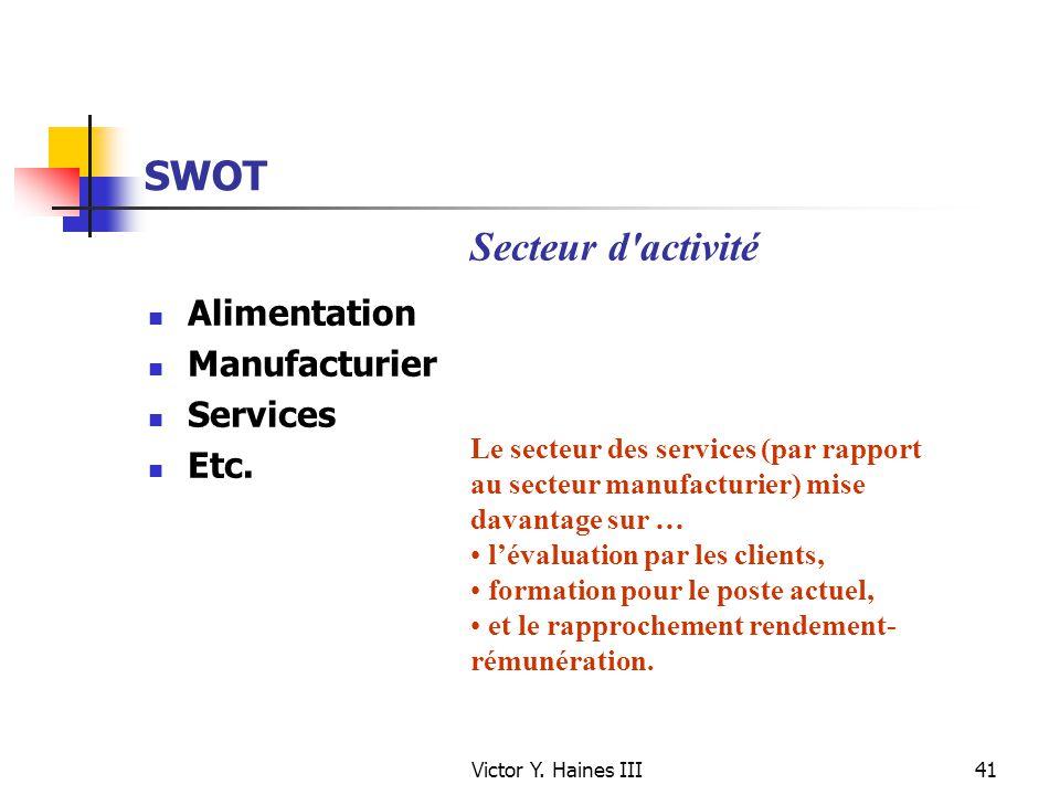 Victor Y. Haines III41 SWOT Alimentation Manufacturier Services Etc. Le secteur des services (par rapport au secteur manufacturier) mise davantage sur