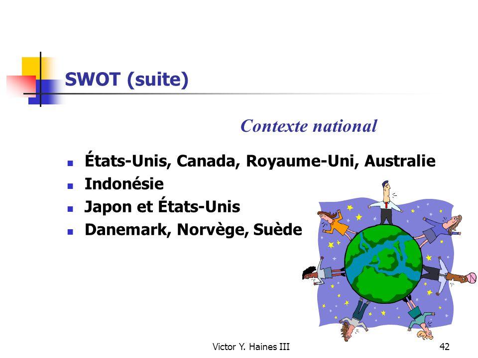Victor Y. Haines III42 SWOT (suite) États-Unis, Canada, Royaume-Uni, Australie Indonésie Japon et États-Unis Danemark, Norvège, Suède Contexte nationa