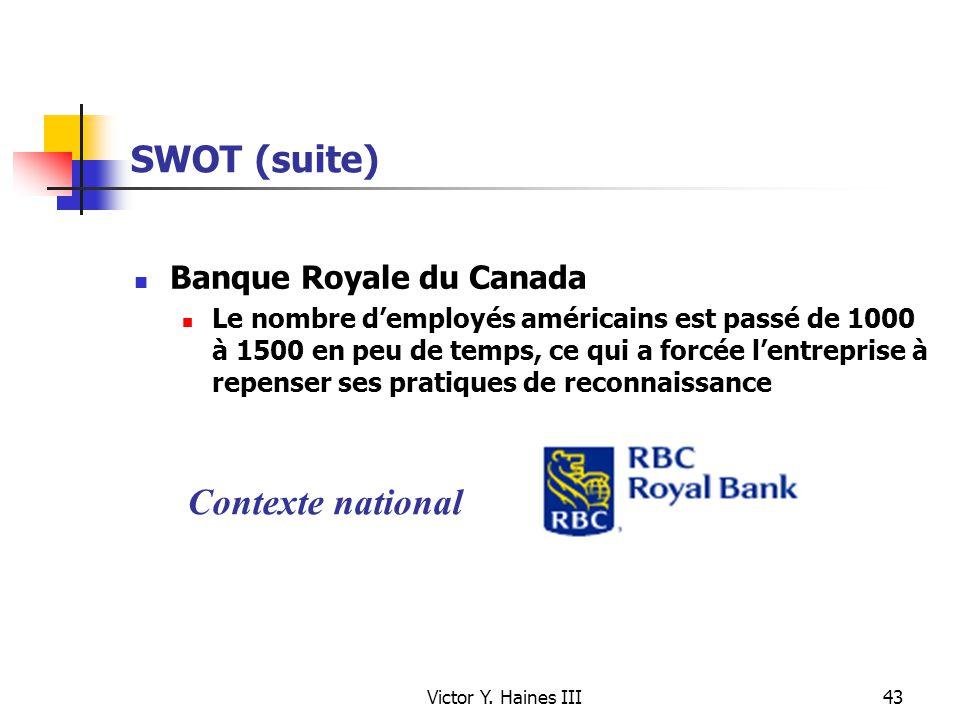 Victor Y. Haines III43 SWOT (suite) Banque Royale du Canada Le nombre demployés américains est passé de 1000 à 1500 en peu de temps, ce qui a forcée l