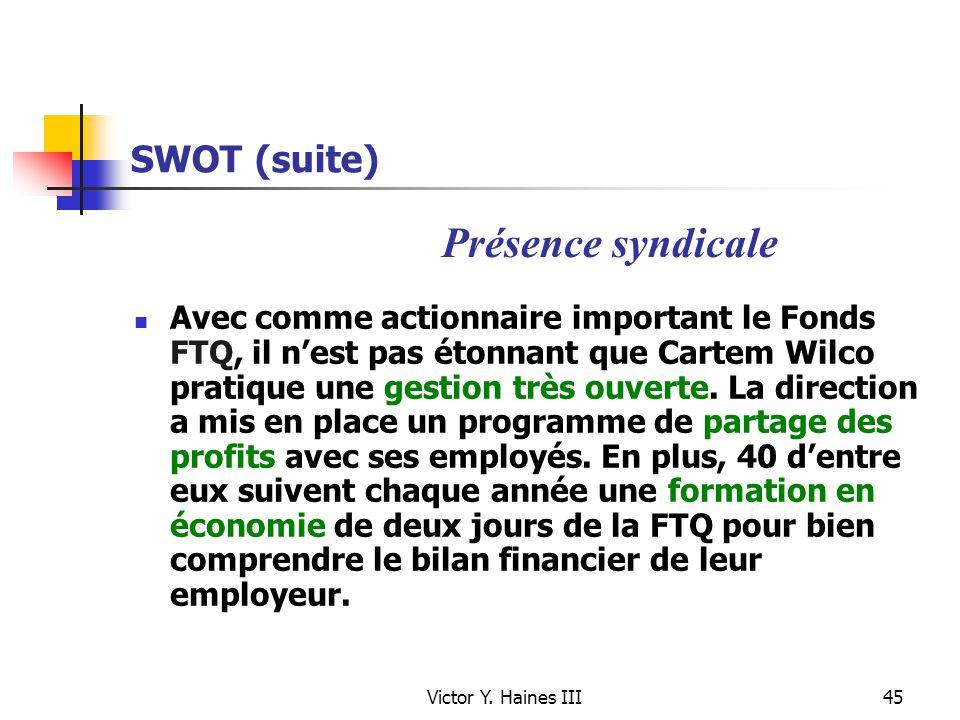 Victor Y. Haines III45 SWOT (suite) Avec comme actionnaire important le Fonds FTQ, il nest pas étonnant que Cartem Wilco pratique une gestion très ouv