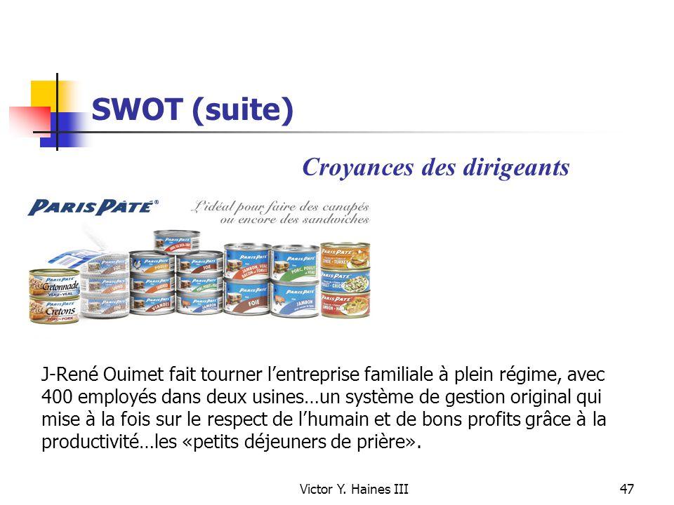 Victor Y. Haines III47 SWOT (suite) Croyances des dirigeants J-René Ouimet fait tourner lentreprise familiale à plein régime, avec 400 employés dans d