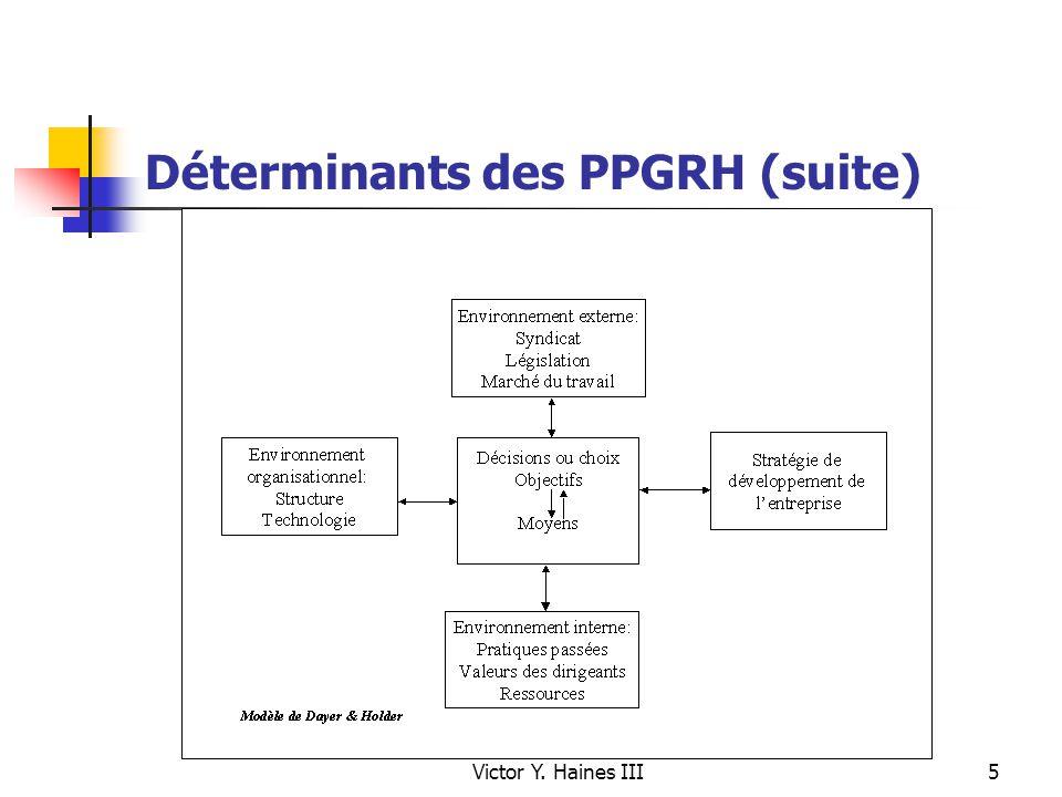 Victor Y. Haines III5 Déterminants des PPGRH (suite)
