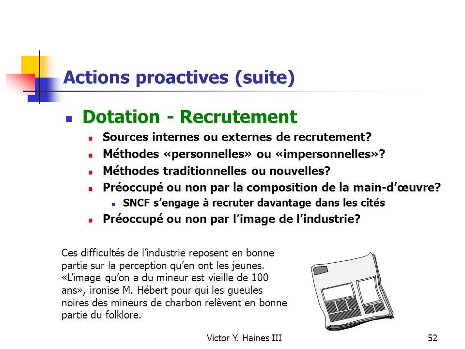 Victor Y. Haines III52 Actions proactives (suite) Dotation - Recrutement Sources internes ou externes de recrutement? Méthodes «personnelles» ou «impe
