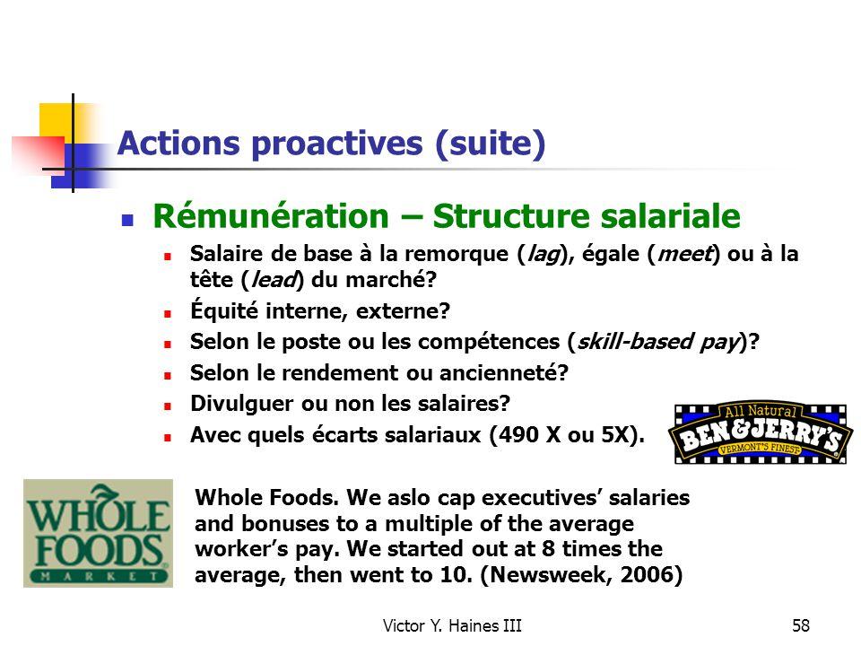 Victor Y. Haines III58 Actions proactives (suite) Rémunération – Structure salariale Salaire de base à la remorque (lag), égale (meet) ou à la tête (l