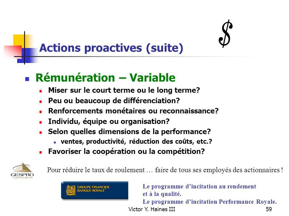 Victor Y. Haines III59 Actions proactives (suite) Rémunération – Variable Miser sur le court terme ou le long terme? Peu ou beaucoup de différenciatio