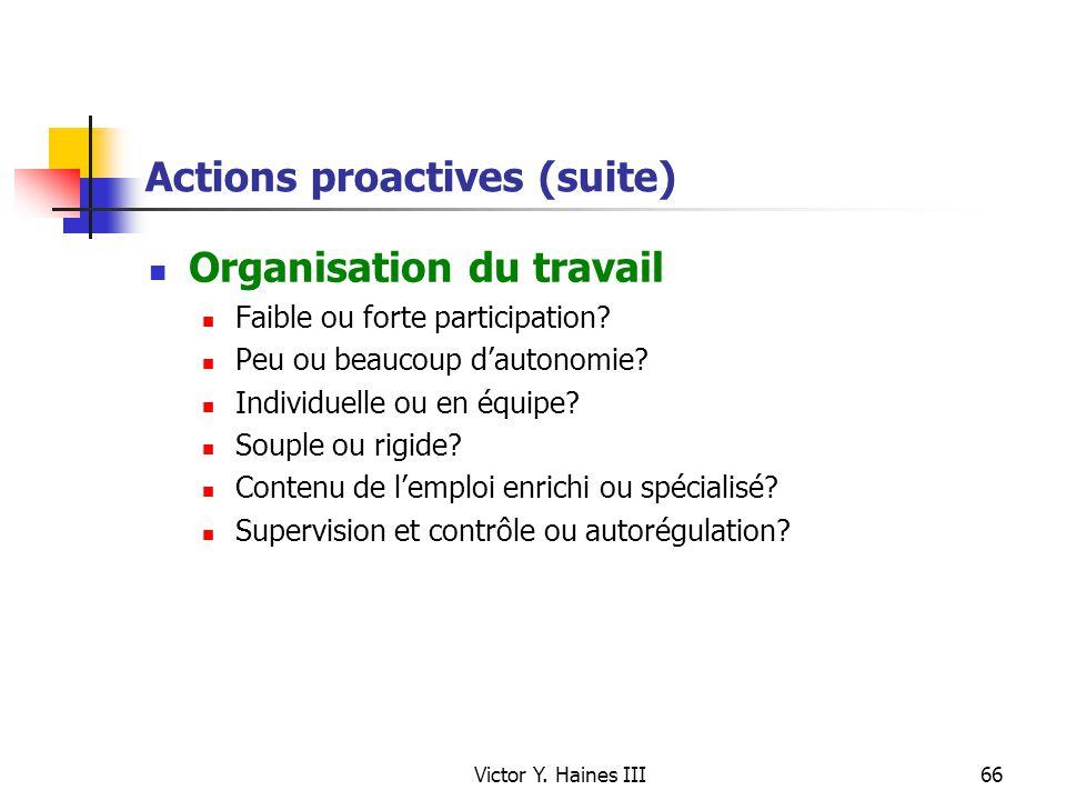 Victor Y. Haines III66 Actions proactives (suite) Organisation du travail Faible ou forte participation? Peu ou beaucoup dautonomie? Individuelle ou e