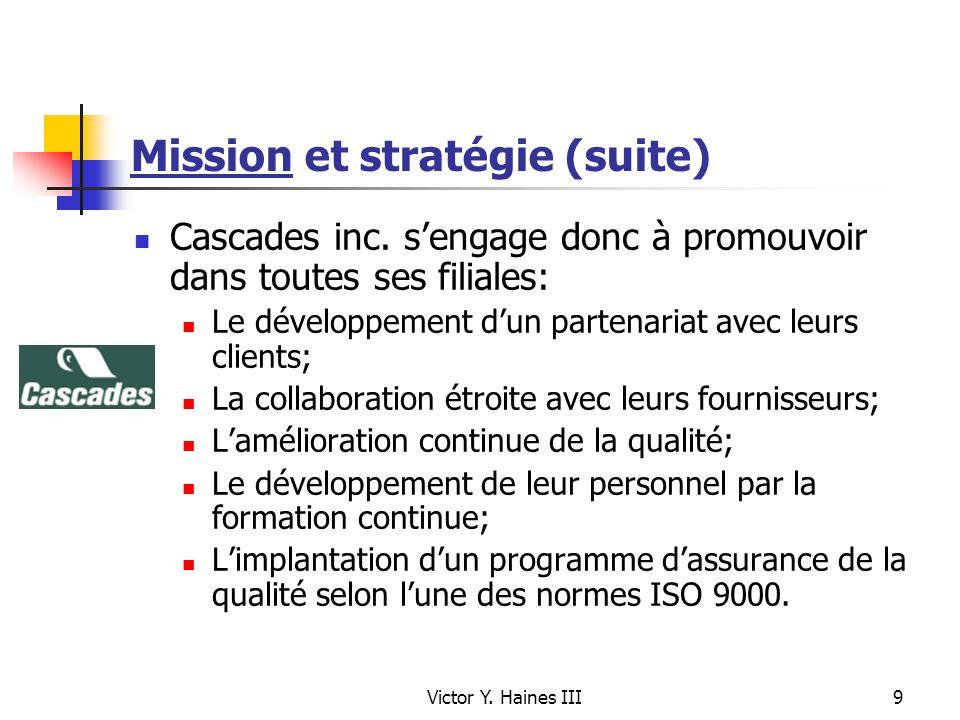 Victor Y. Haines III9 Mission et stratégie (suite) Cascades inc. sengage donc à promouvoir dans toutes ses filiales: Le développement dun partenariat