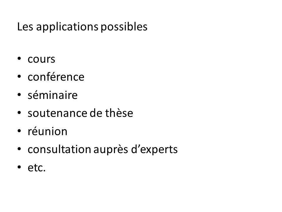 Les applications possibles cours conférence séminaire soutenance de thèse réunion consultation auprès dexperts etc.