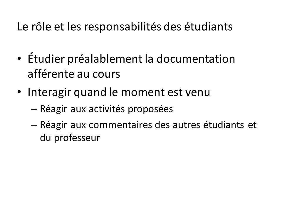 Le rôle et les responsabilités des étudiants Étudier préalablement la documentation afférente au cours Interagir quand le moment est venu – Réagir aux activités proposées – Réagir aux commentaires des autres étudiants et du professeur