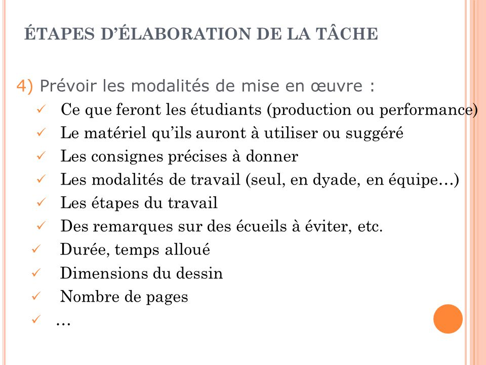 ÉTAPES DÉLABORATION DE LA TÂCHE Exemples de tâches complexes de production : Structuration dun ensemble dinformations, de concepts…(tableau, schéma, e