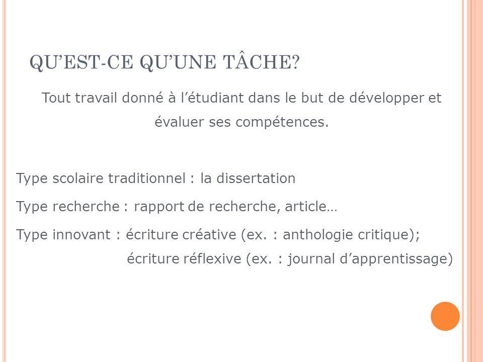 PLAN DU COURS Quest-ce quune tâche? Quelle est la démarche délaboration dune tâche? Quest-ce quune bonne tâche? Quelle structure donnée à une tâche? Q