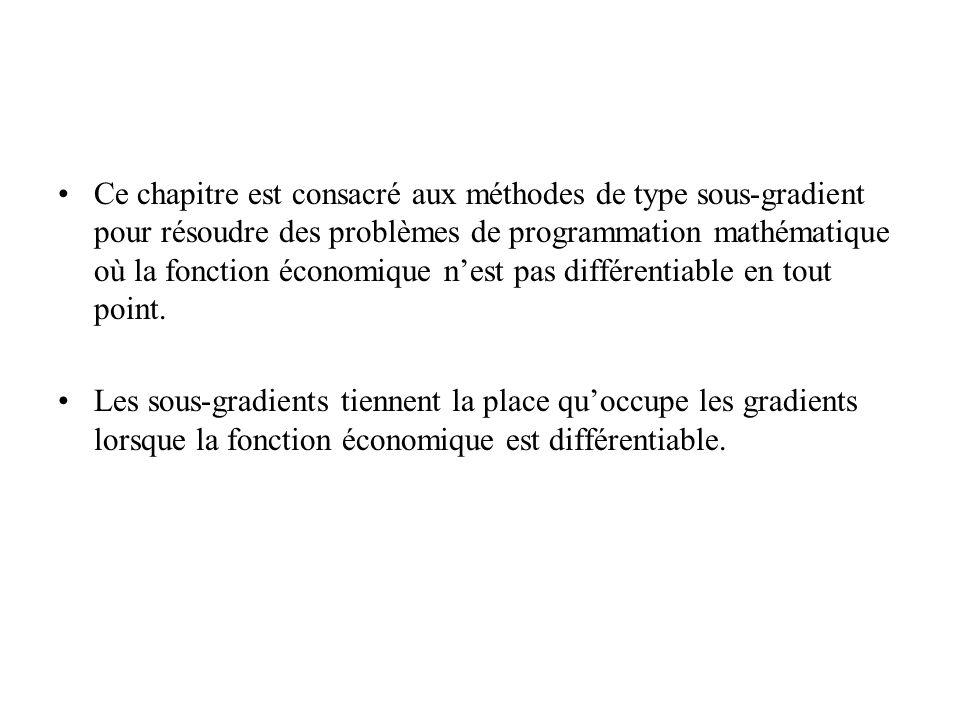 Ce chapitre est consacré aux méthodes de type sous-gradient pour résoudre des problèmes de programmation mathématique où la fonction économique nest pas différentiable en tout point.