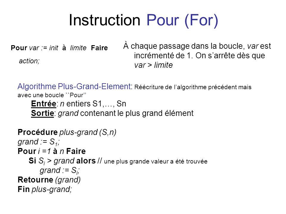 Instruction Pour (For) À chaque passage dans la boucle, var est incrémenté de 1. On sarrête dès que var > limite Pour var := init à limite Faire actio
