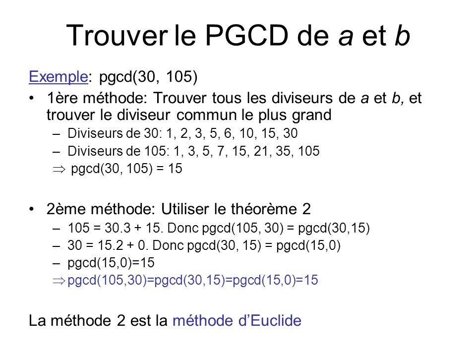 Trouver le PGCD de a et b Exemple: pgcd(30, 105) 1ère méthode: Trouver tous les diviseurs de a et b, et trouver le diviseur commun le plus grand –Divi
