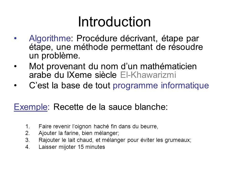 Introduction Algorithme: Procédure décrivant, étape par étape, une méthode permettant de résoudre un problème. Mot provenant du nom dun mathématicien
