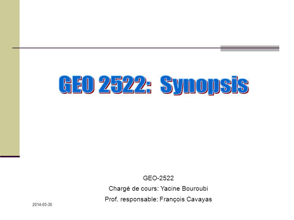 2014-05-30 GEO-2522 Chargé de cours: Yacine Bouroubi Prof. responsable: François Cavayas