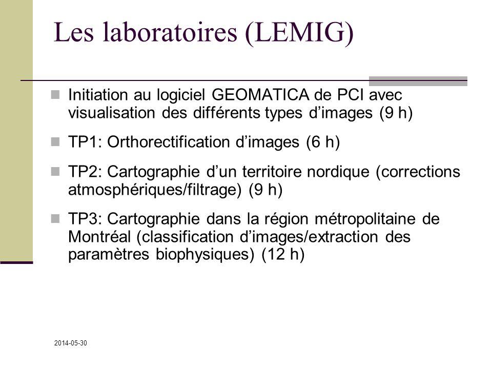 2014-05-30 Les laboratoires (LEMIG) Initiation au logiciel GEOMATICA de PCI avec visualisation des différents types dimages (9 h) TP1: Orthorectification dimages (6 h) TP2: Cartographie dun territoire nordique (corrections atmosphériques/filtrage) (9 h) TP3: Cartographie dans la région métropolitaine de Montréal (classification dimages/extraction des paramètres biophysiques) (12 h)