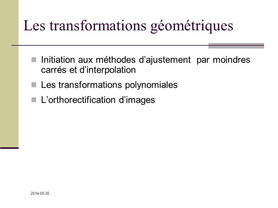 2014-05-30 Les transformations géométriques Initiation aux méthodes dajustement par moindres carrés et dinterpolation Les transformations polynomiales Lorthorectification dimages