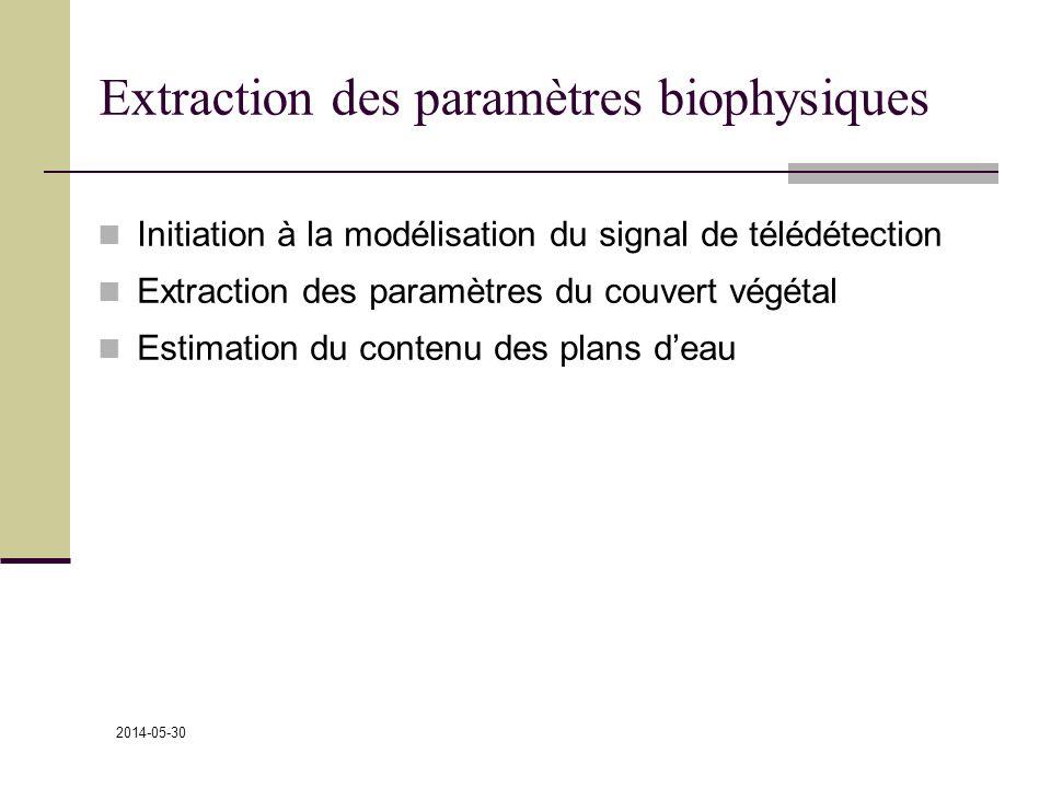 2014-05-30 Extraction des paramètres biophysiques Initiation à la modélisation du signal de télédétection Extraction des paramètres du couvert végétal Estimation du contenu des plans deau