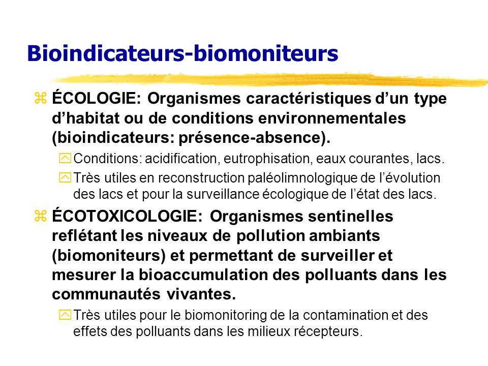 Bioindicateurs-biomoniteurs zÉCOLOGIE: Organismes caractéristiques dun type dhabitat ou de conditions environnementales (bioindicateurs: présence-abse