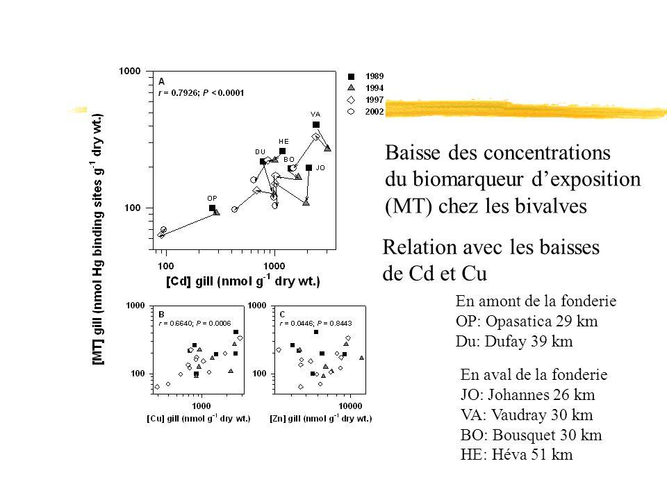 Baisse des concentrations du biomarqueur dexposition (MT) chez les bivalves Relation avec les baisses de Cd et Cu En amont de la fonderie OP: Opasatic