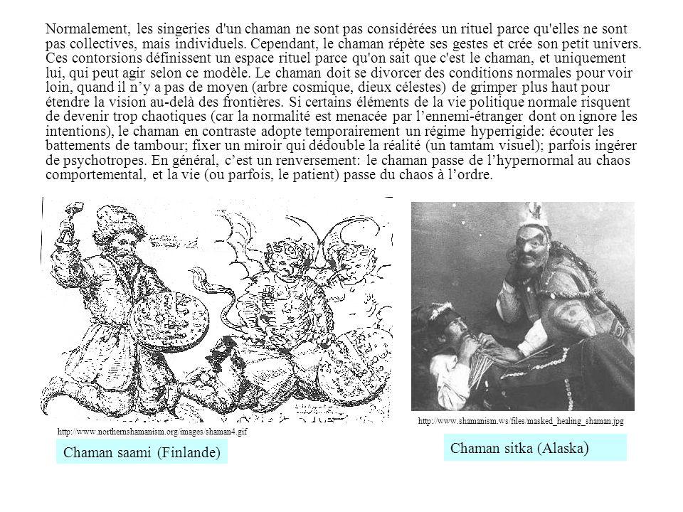 Normalement, les singeries d'un chaman ne sont pas considérées un rituel parce qu'elles ne sont pas collectives, mais individuels. Cependant, le chama