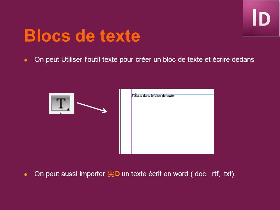 Blocs de texte On peut Utiliser loutil texte pour créer un bloc de texte et écrire dedans On peut aussi importer D un texte écrit en word (.doc,.rtf,.