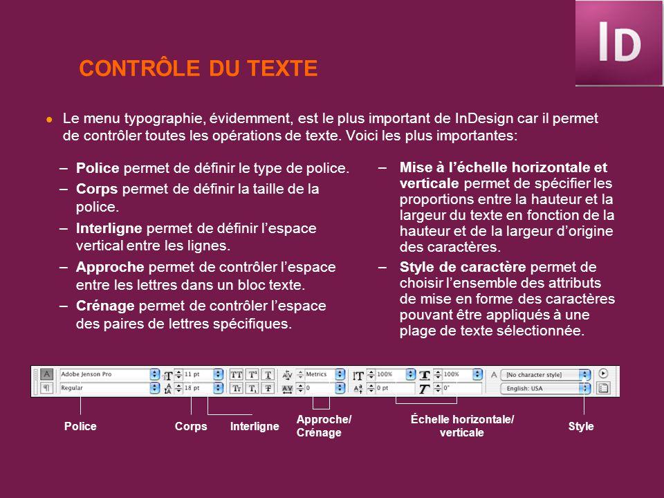 CONTRÔLE DU TEXTE Le menu typographie, évidemment, est le plus important de InDesign car il permet de contrôler toutes les opérations de texte. Voici