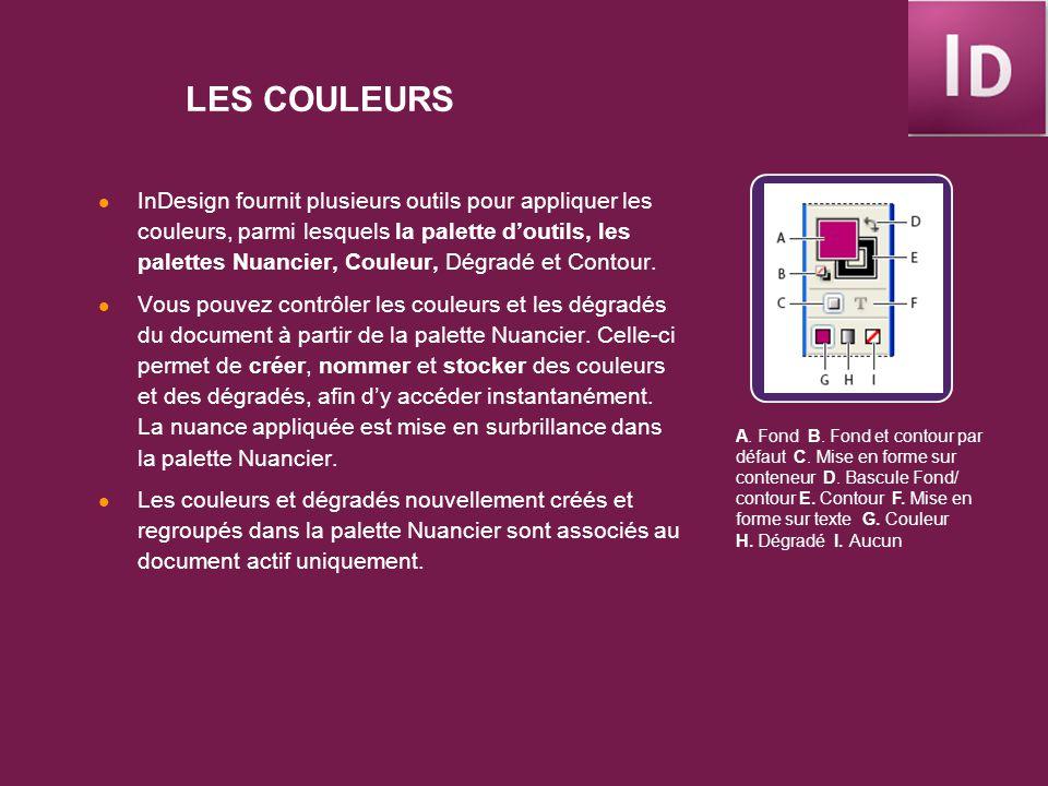 LES COULEURS InDesign fournit plusieurs outils pour appliquer les couleurs, parmi lesquels la palette doutils, les palettes Nuancier, Couleur, Dégradé