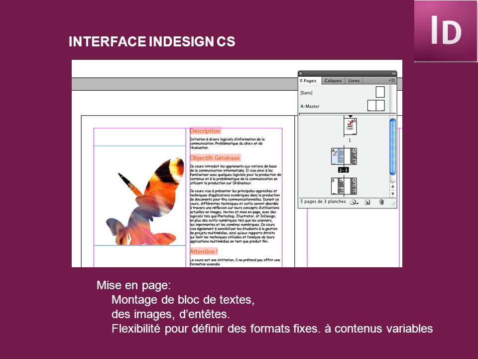 INTERFACE INDESIGN CS Mise en page: Montage de bloc de textes, des images, dentêtes.