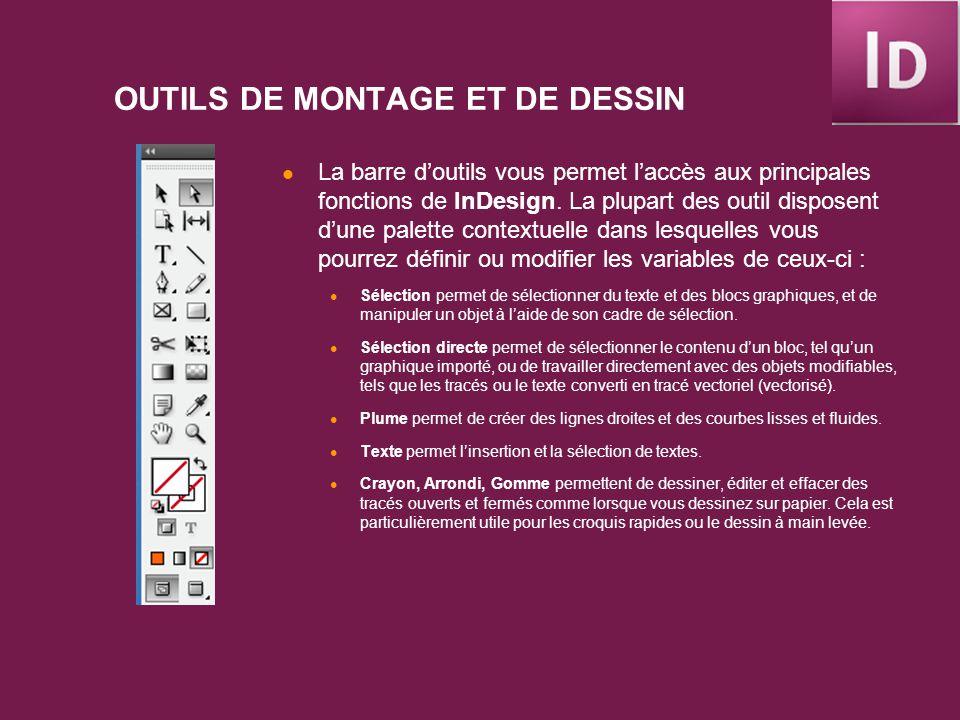 OUTILS DE MONTAGE ET DE DESSIN (2) Ligne permet le dessin de segments de droites.