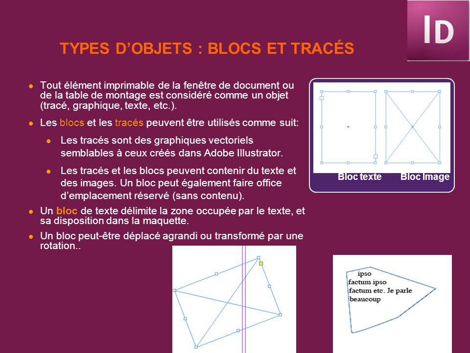 TYPES DOBJETS : BLOCS ET TRACÉS Tout élément imprimable de la fenêtre de document ou de la table de montage est considéré comme un objet (tracé, graph