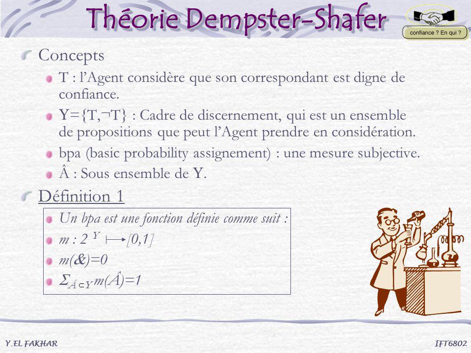 Théorie Dempster-Shafer Concepts T : lAgent considère que son correspondant est digne de confiance. ={T,¬T} : Cadre de discernement, qui est un ensemb