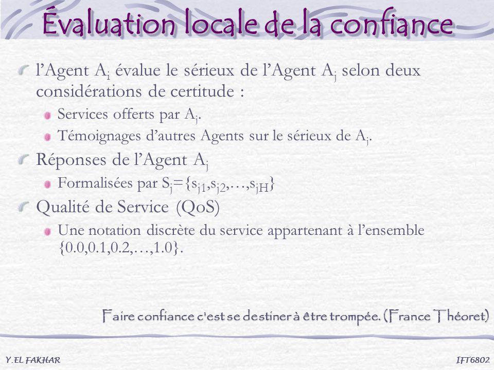 Évaluation locale de la confiance Y.EL FAKHAR IFT6802 lAgent A i évalue le sérieux de lAgent A j selon deux considérations de certitude : Services off