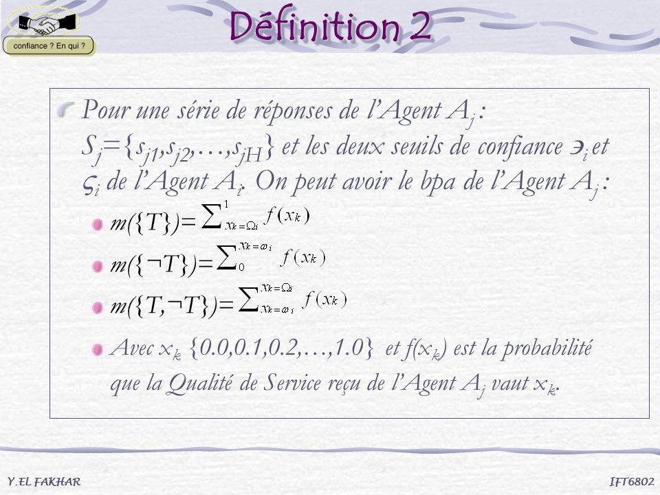 Définition 2 Pour une série de réponses de lAgent A j : S j ={s j1,s j2,…,s jH } et les deux seuils de confiance i et i de lAgent A i. On peut avoir l