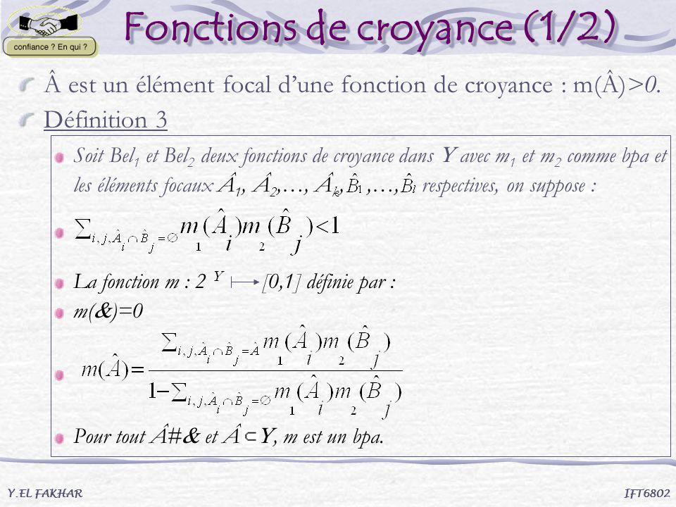 Fonctions de croyance (1/2) Fonctions de croyance (1/2) Â est un élément focal dune fonction de croyance : m(Â)>0. Définition 3 Soit Bel 1 et Bel 2 de