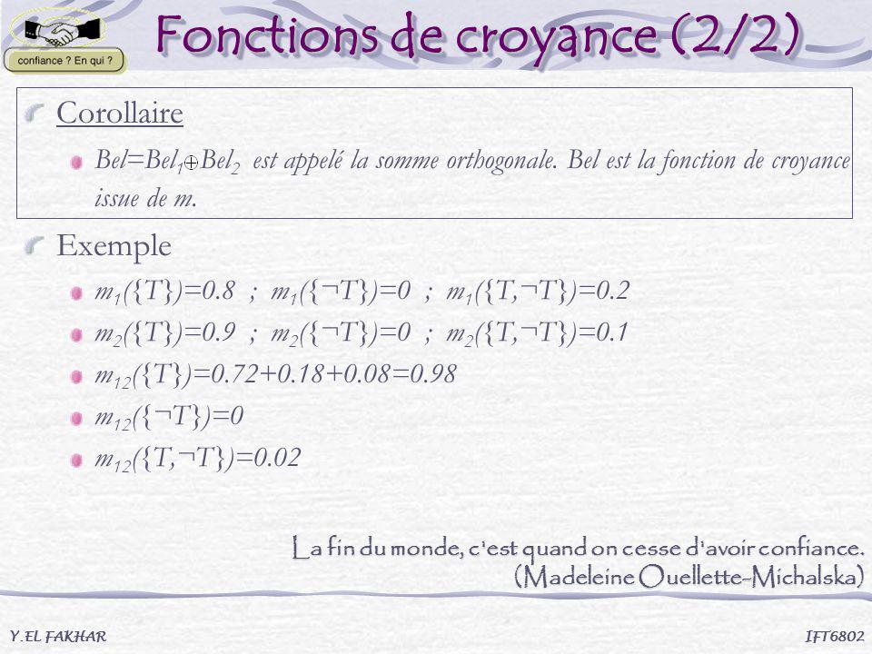 Fonctions de croyance (2/2) Fonctions de croyance (2/2) Corollaire Bel=Bel 1 Bel 2 est appelé la somme orthogonale. Bel est la fonction de croyance is