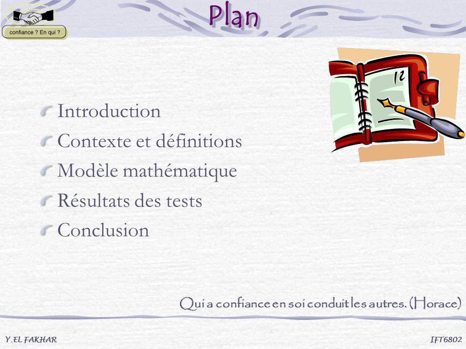 PlanPlan Introduction Contexte et définitions Modèle mathématique Résultats des tests Conclusion Y.EL FAKHAR IFT6802 Qui a confiance en soi conduit le