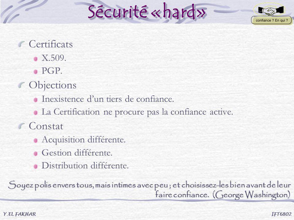Sécurité «hard» Y.EL FAKHAR IFT6802 Certificats X.509. PGP. Objections Inexistence dun tiers de confiance. La Certification ne procure pas la confianc