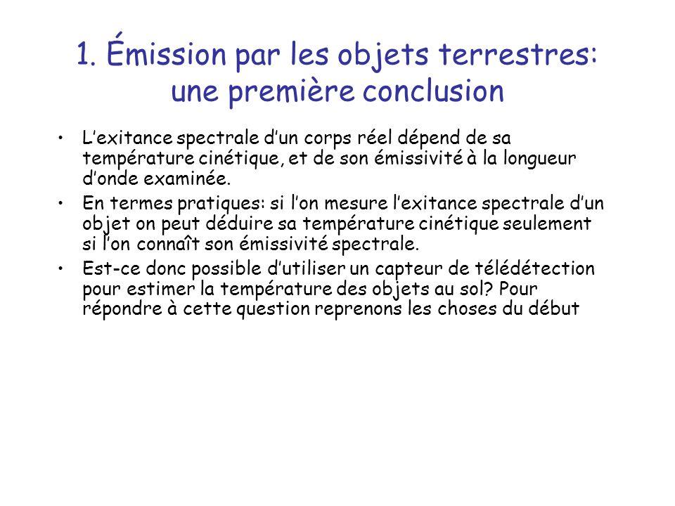 1. Émission par les objets terrestres: une première conclusion Lexitance spectrale dun corps réel dépend de sa température cinétique, et de son émissi