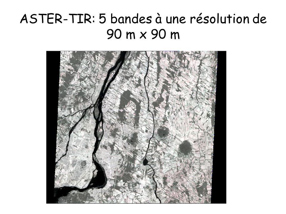 ASTER-TIR: 5 bandes à une résolution de 90 m x 90 m