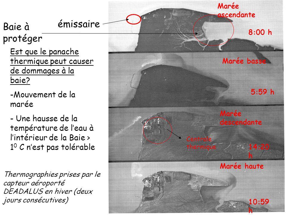 émissaire Baie à protéger Est que le panache thermique peut causer de dommages à la baie? -Mouvement de la marée - Une hausse de la température de lea