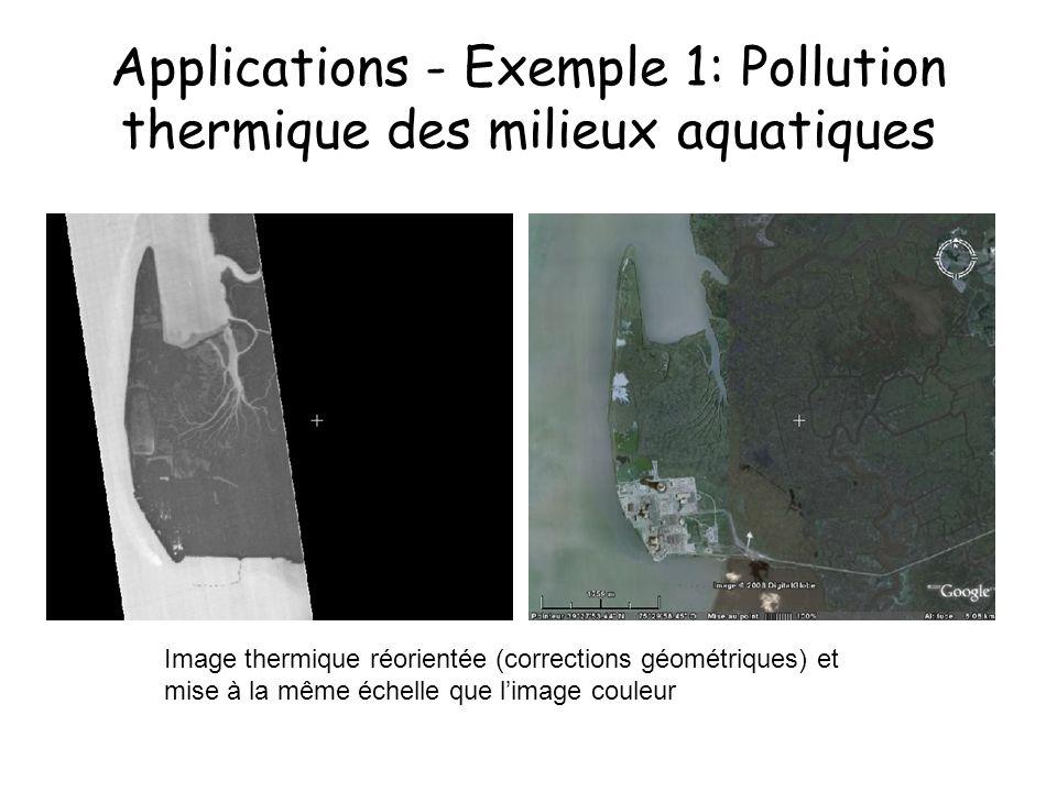 Applications - Exemple 1: Pollution thermique des milieux aquatiques Image thermique réorientée (corrections géométriques) et mise à la même échelle q