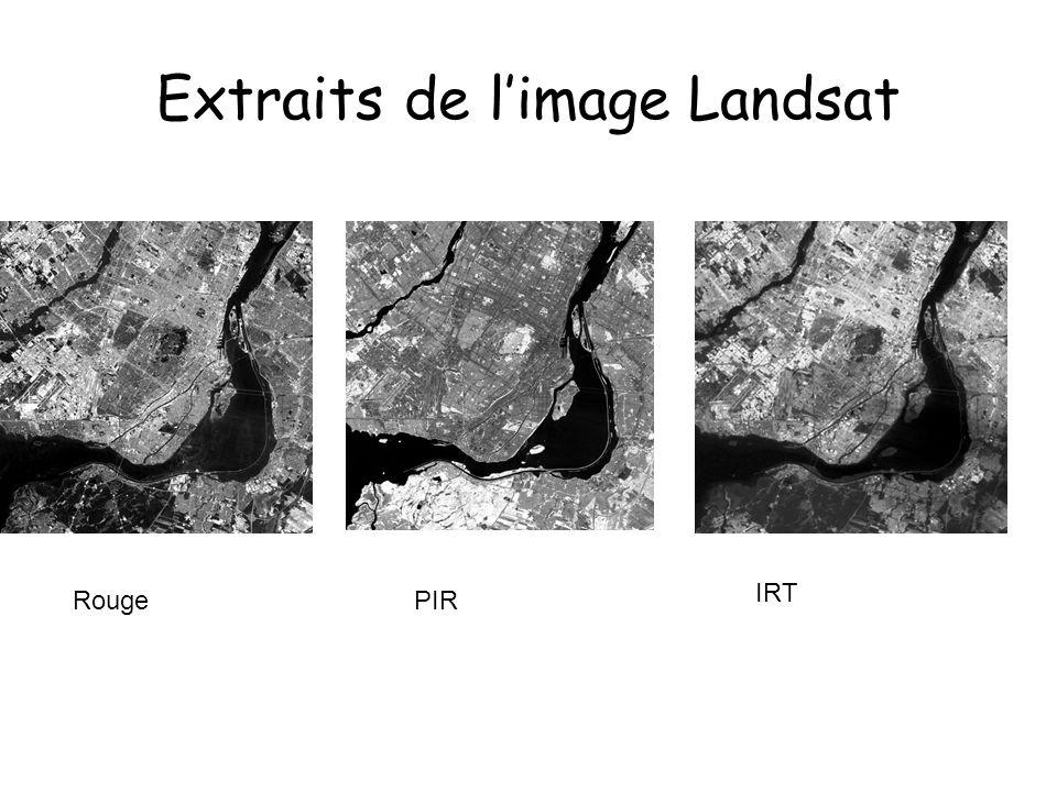 Extraits de limage Landsat Carte doccupation du sol RougePIR IRT