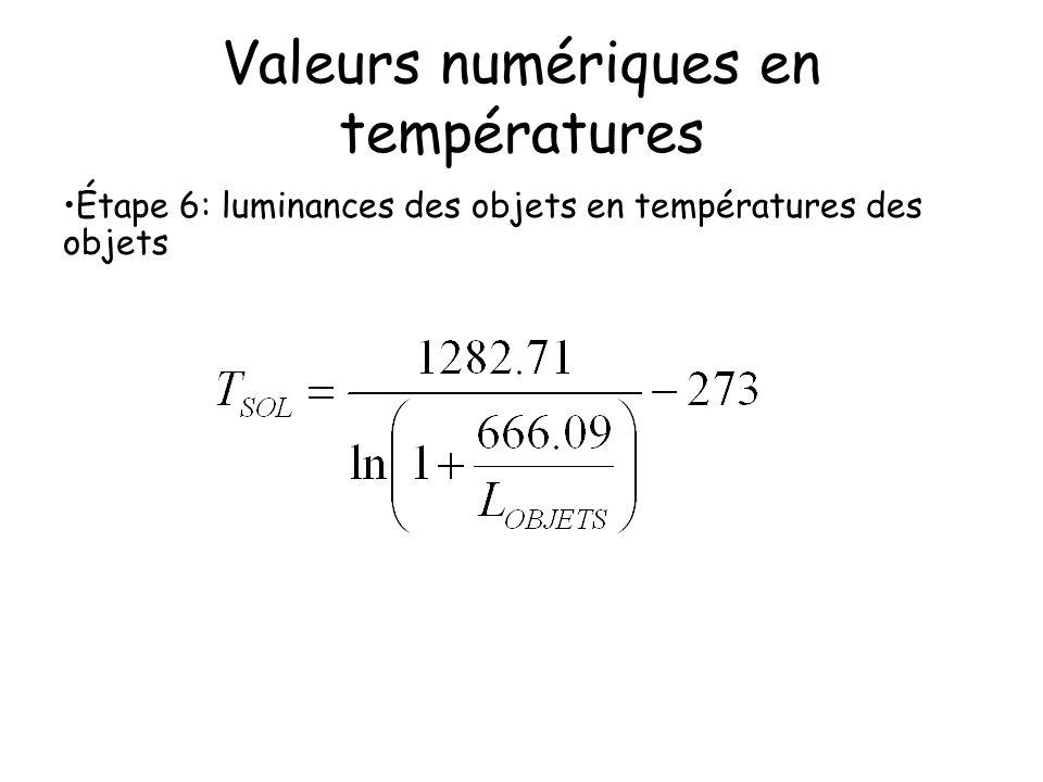 Valeurs numériques en températures Étape 6: luminances des objets en températures des objets