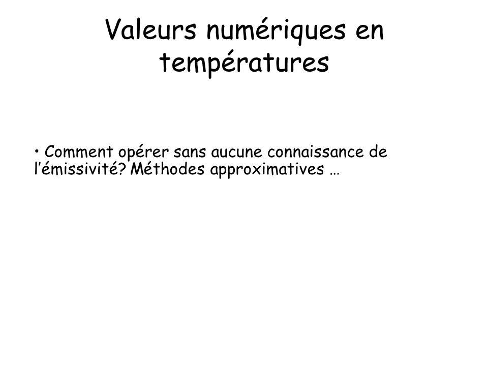 Valeurs numériques en températures Comment opérer sans aucune connaissance de lémissivité? Méthodes approximatives …