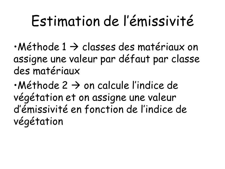 Estimation de lémissivité Méthode 1 classes des matériaux on assigne une valeur par défaut par classe des matériaux Méthode 2 on calcule lindice de vé