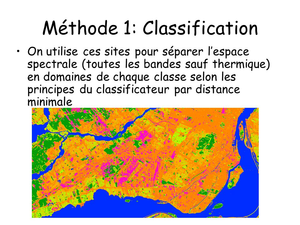 Méthode 1: Classification On utilise ces sites pour séparer lespace spectrale (toutes les bandes sauf thermique) en domaines de chaque classe selon le