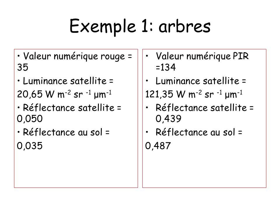 Exemple 1: arbres Valeur numérique rouge = 35 Luminance satellite = 20,65 W m -2 sr -1 μm -1 Réflectance satellite = 0,050 Réflectance au sol = 0,035