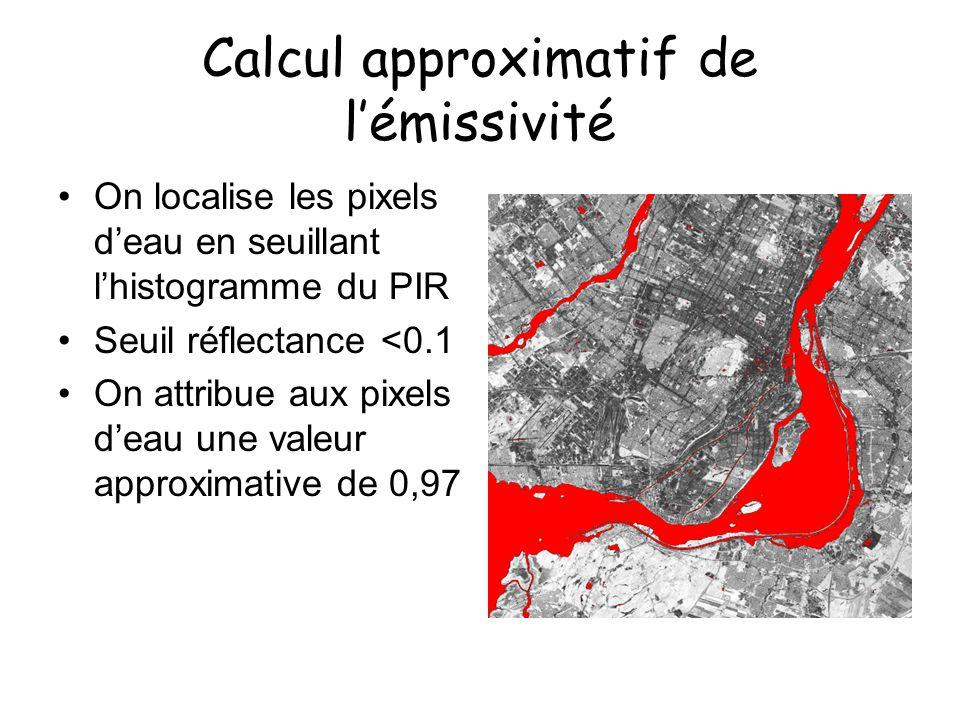 Calcul approximatif de lémissivité On localise les pixels deau en seuillant lhistogramme du PIR Seuil réflectance <0.1 On attribue aux pixels deau une